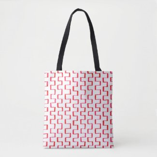 All-Over-Print Red Geometric Painted Pattern Tote Bag