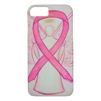 Pink Awareness Ribbon Angel Custom iPhone Case