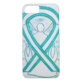 Teal and White Awareness Ribbon Angel iPhone7 Case