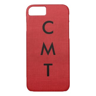 Red Linen Texture Photo with Custom Monogram iPhone 7 Case