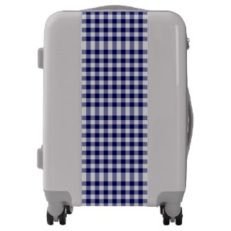 Classic Navy Blue and Grey Gingham Plaid Luggage