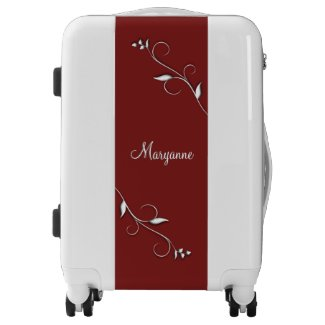 Accent Vines Deep Red and White Personalized Luggage
