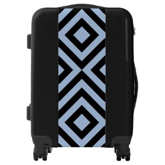 Light Blue & Black Diamonds and Chevrons Luggage