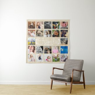 Modern 22 Family Photo Collage & White Laurels Tapestry