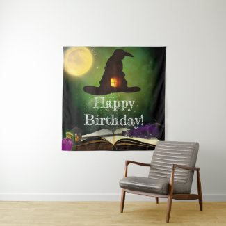 Magic Hat & Spell Book Halloween Party Backdrop