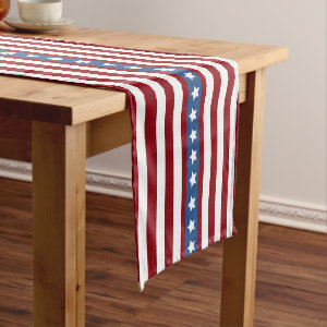 American Stars and Stripes red white blue small Short Table Runner