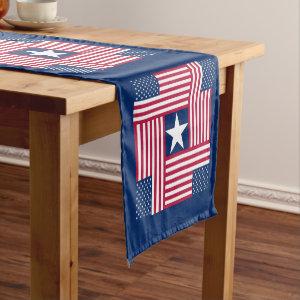 Patriotic American Flag Short Table Runner