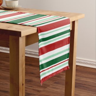 Modern Christmas Red, Green, White Stripes Short Table Runner
