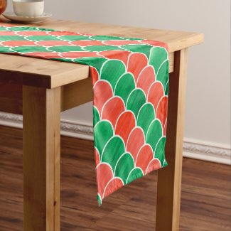 Painted Red Green Scale Christmas Pattern Short Table Runner