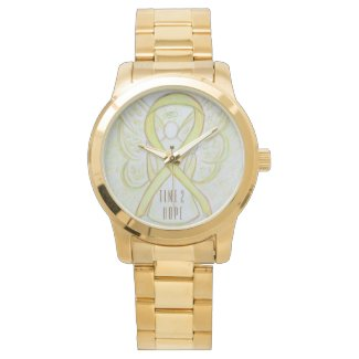 Time to Hope Yellow Awareness Ribbon Angel Watch