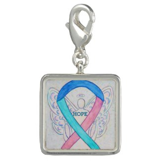 Thyroid Cancer Awareness Ribbon Art Bracelet Charm