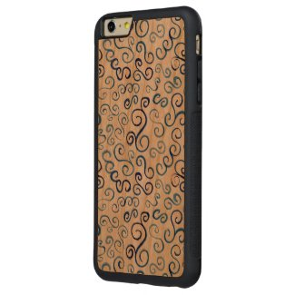 Painted Blue Abstract Curves on Wood Carved® Cherry iPhone 6 Plus Bumper Case