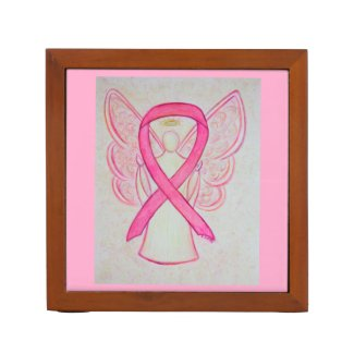 Pink Awareness Ribbon Angel Art Desk Organizer