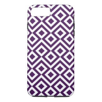 Royal Purple and White Meander iPhone 7 Plus Case