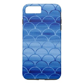 Painted Blue Watercolor Scales iPhone 7 Plus Case