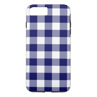 Navy and White Gingham Plaid iPhone 7 Plus Case