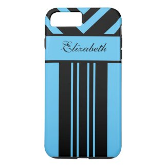 Black & Bright Blue Stripes Chevrons, Your Name iPhone 7 Plus Case