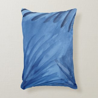 Evocative Abstract Blue Rays Watercolor Painting Decorative Pillow