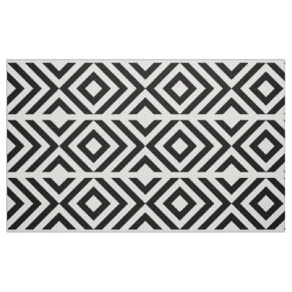 Geometric Black and White Chevrons and Diamonds Fabric