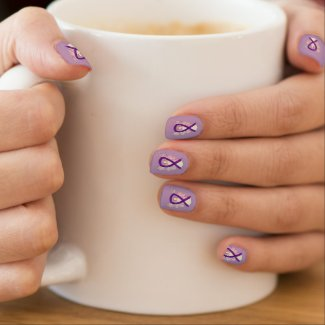 Purple Awareness Ribbon Custom Nail Wrap Art Minx Nail Art