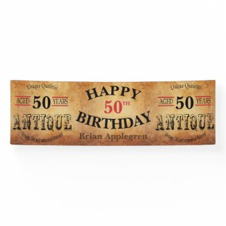 Aged, Antique and Vintage Any Birthday Design Banner