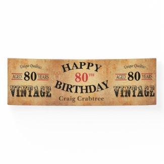 Vintage Any Age Birthday Design Banner