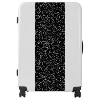 Distinctive White Scrolling Curves on Black Stripe Luggage