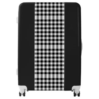 Sleek Black and White Gingham Plaid Luggage