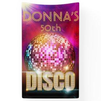 Glitzy Disco Ball| Gold & Neon Colors Retro Party