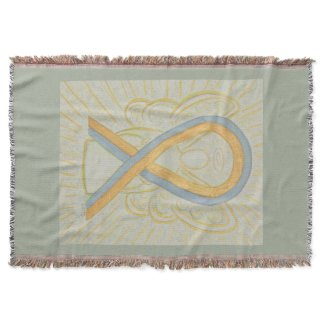Gray and Gold Awareness Ribbon Angel Throw Blanket