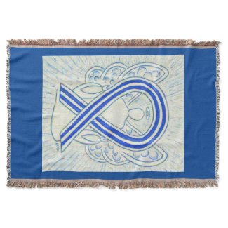 Blue and White Awareness Ribbon Angel Blanket