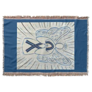 Blue and Black Awareness Ribbon Angel Blanket
