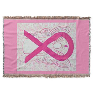 Hot Pink Awareness Ribbon Angel Blanket