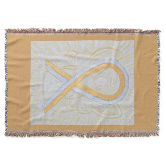 Silver & Gold Awareness Ribbon Angel Throw Blanket