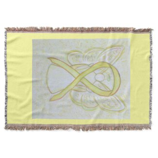 Awareness Ribbon Angel Custom Art Throw Blanket