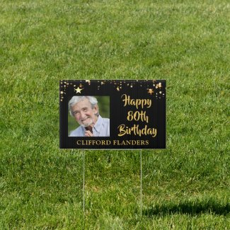 90th Birthday Black Gold Stars Two Photos Name Sign