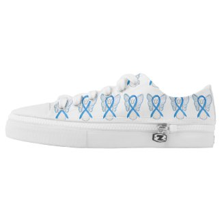 Light Blue Awareness Ribbon Angel Custom Sneakers