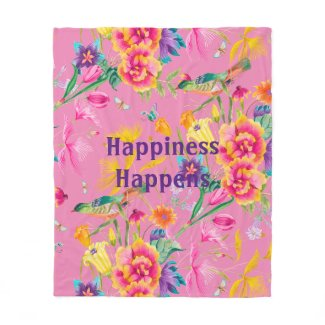 Bold Colorful Summer Print Fleece Blanket