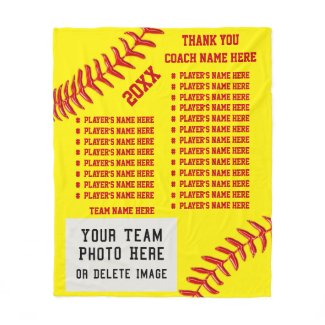 ALL Players NAMES, PHOTO Softball Coach Gift Ideas Fleece Blanket