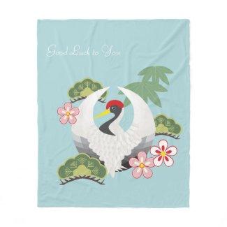 Japanese Lucky Symbols Elegant Cute Light Blue Fleece Blanket