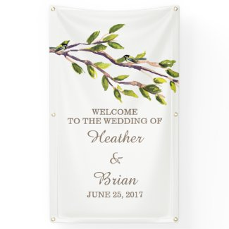 Brushed Branches Wedding Banner