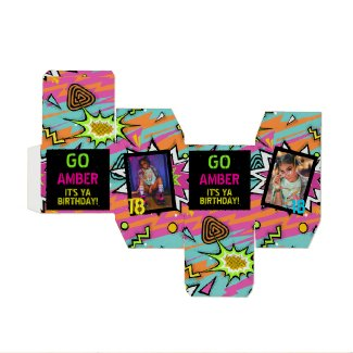 Funky Retro 80's/90's Neon Birthday Party Photo Favor Box