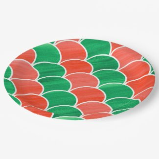 Christmas Party Red Green Painted Scale Pattern Paper Plate