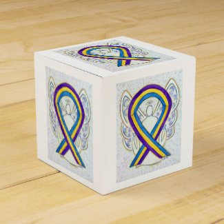 Bladder Cancer Awareness Ribbon Angel Favor Box