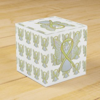 Yellow Awareness Ribbon Angel Party Favor Boxes