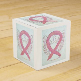 Pink Awareness Ribbon Angel Party Favor Box