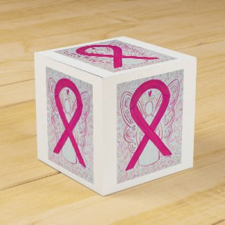 Hot Pink Awareness Ribbon Angel Party Favor Box