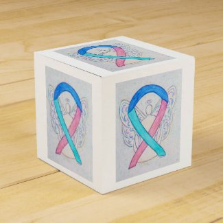 Thyroid Cancer Awareness Ribbon Angel Favor Box