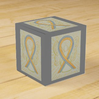 Gray and Gold Awareness Ribbon Party Favor Box