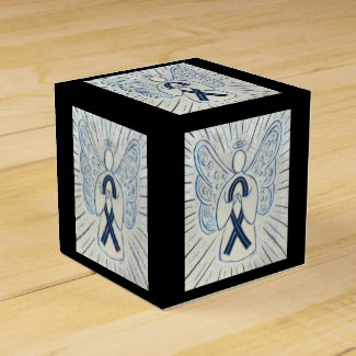 Blue and Black Awareness Ribbon Party Favor Box